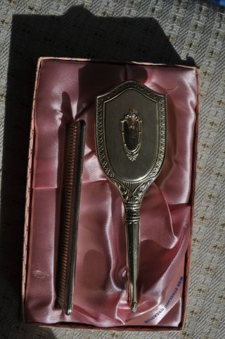 Vintage Web Sterling Silver Baby Brush And Comb Set In Box photo