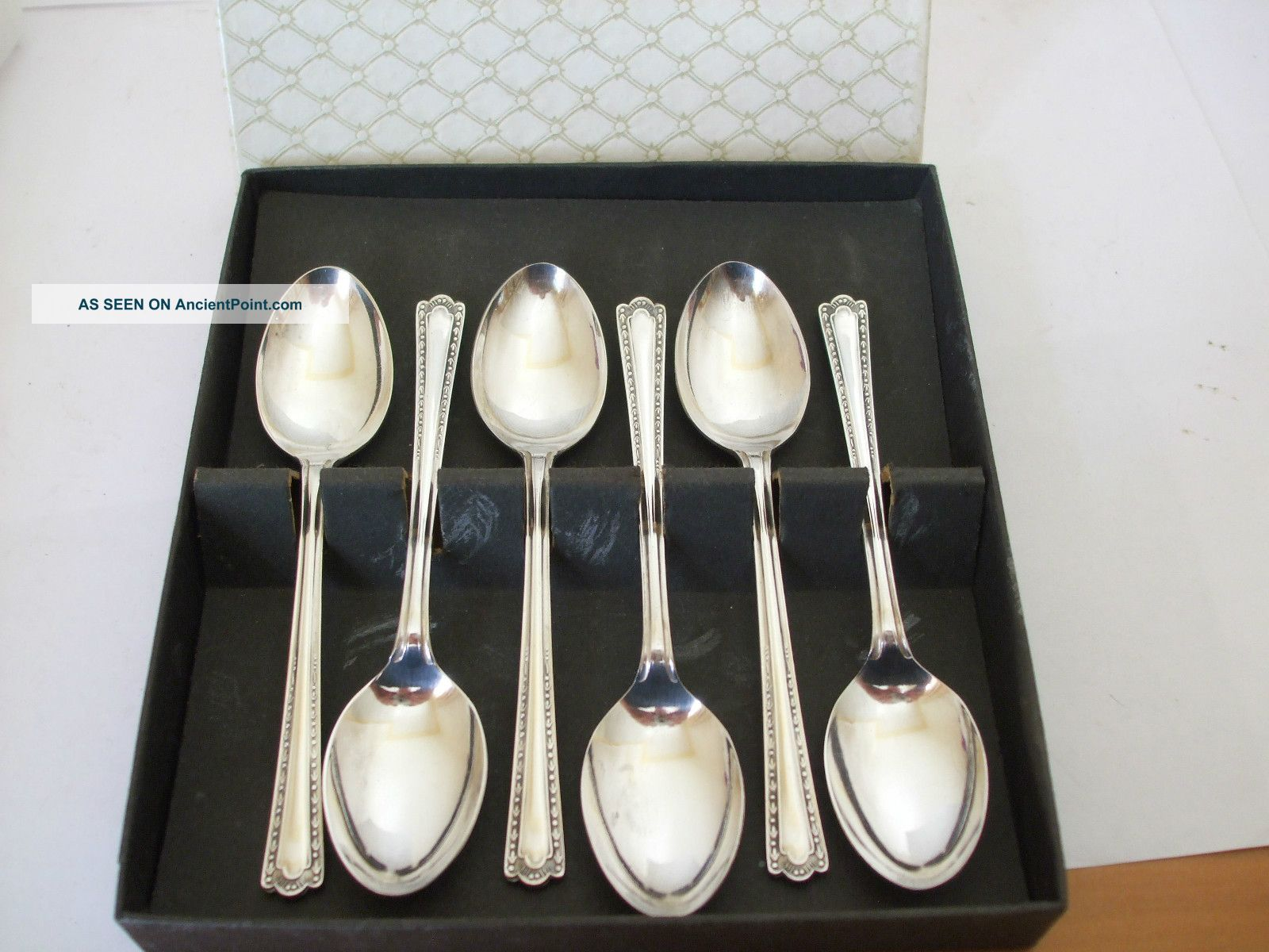 Viintage Boxed 6 Tea Spoons Silver Plate Epns Pretty Pattern Other photo