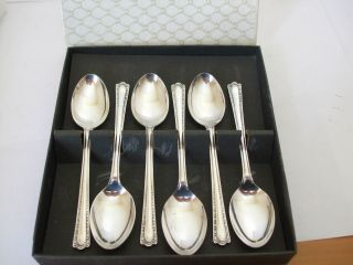 Viintage Boxed 6 Tea Spoons Silver Plate Epns Pretty Pattern photo
