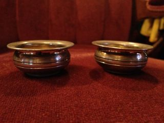 (2) Vintage Sterling Silver Salt Cellars W/