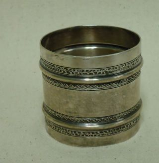 Antique Wide Silver Plate Napkin Ring W Banded Decorations photo