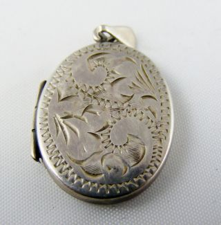 Vintage Solid Silver Engraved Front Photo Mourning Locket Pendant Full Uk Hm photo