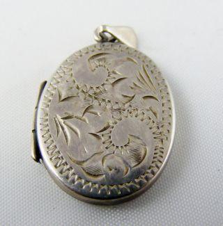 Vintage Solid Silver Engraved Front Photo Mourning Locket Pendant Full Uk Hm photo