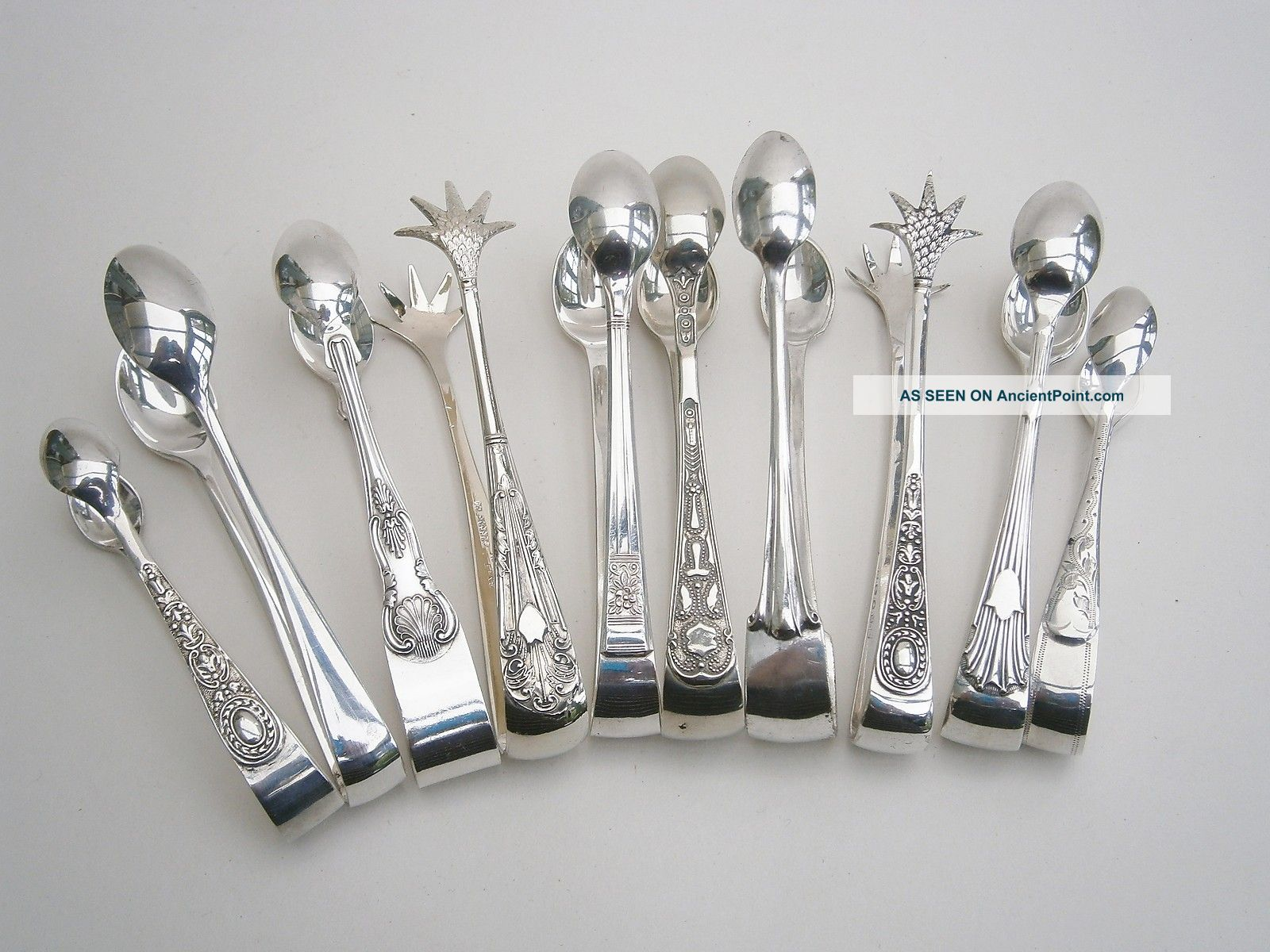 Vintage Silver Plated Sugar Nips X 10 Other photo