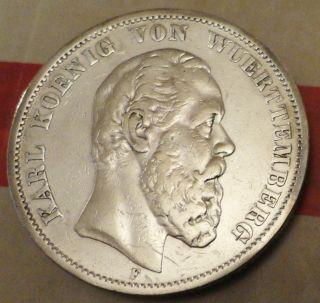 Extreme Rare 1874 F Karl Koenig Von Wuerttemberg 5 Funf Mark Silver Coin photo