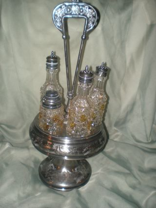 Meriden Antique Silver Plate Condiment Server Caddy Cut Glass Victorian photo