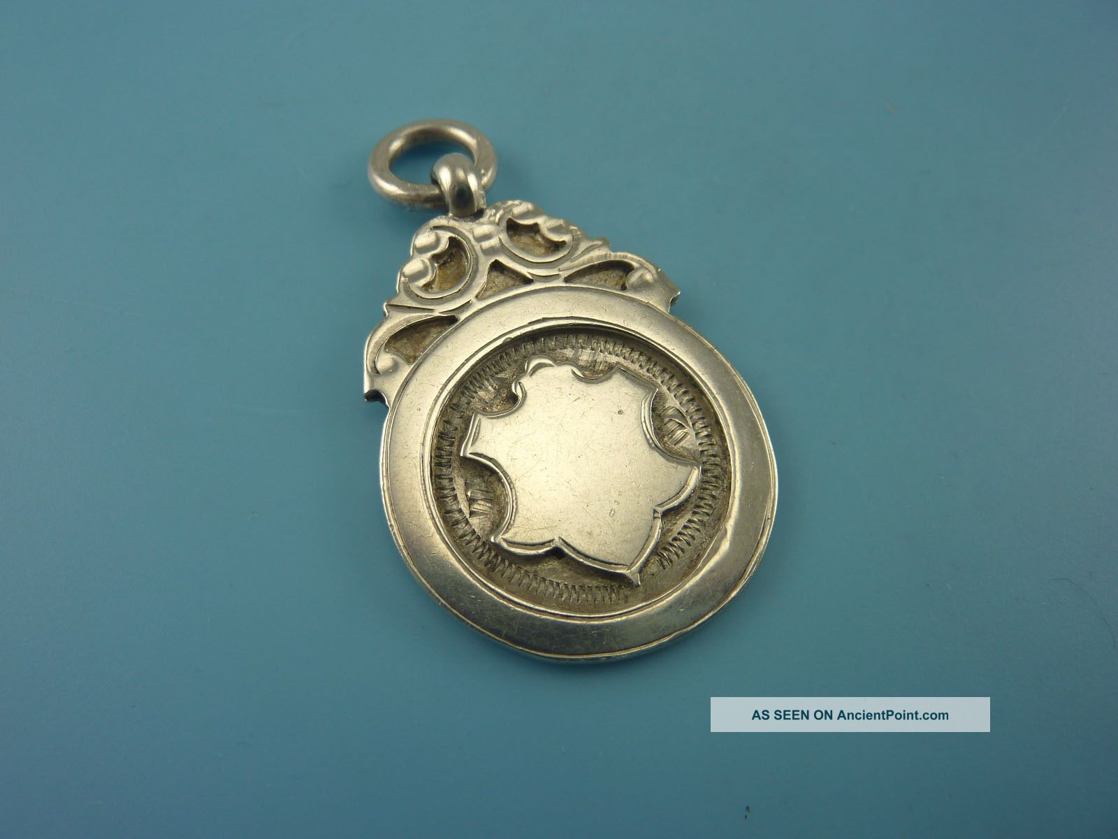 Vintage Sterling Silver Watch Chain Medal - 1930 Pocket Watches/ Chains/ Fobs photo