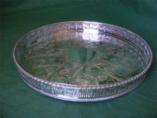 Silver Plated Vintage Circular Chased Drinks Tray By Viners: Magnificent photo