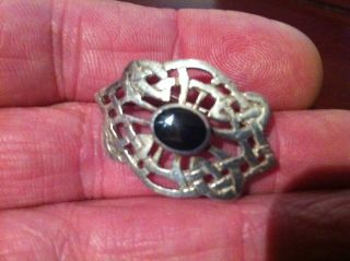 Solid Silver Whitby Jet Tested Celtic Weave Brooch Collectable Rare photo
