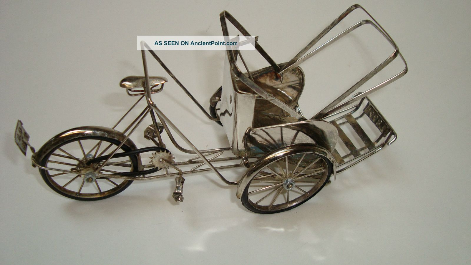 Miniature Oriental?.  8999 Silver Miniature Bicycle Rickshaw Asia photo