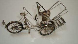 Miniature Oriental?.  8999 Silver Miniature Bicycle Rickshaw photo