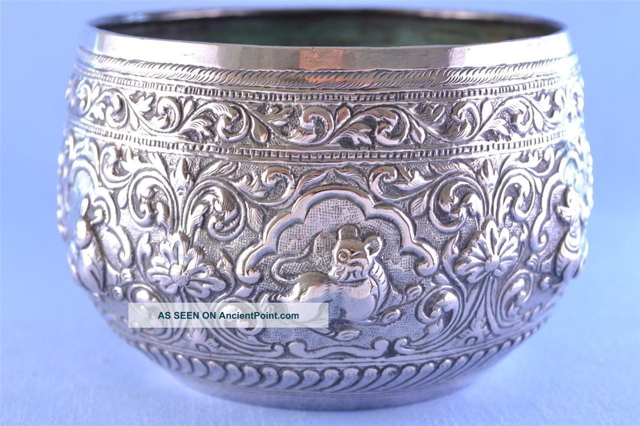 Antique Burmese White Metal Repousse Chased Bowl C1890 138g Bowls photo