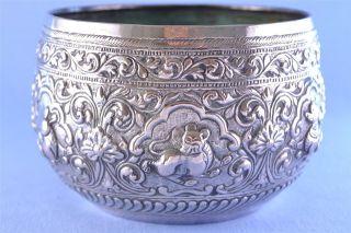Antique Burmese White Metal Repousse Chased Bowl C1890 138g photo