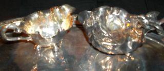 Antique 20thc German Wmf Silver Plate Bird Leaf Sugar Bowl & Twig Leaf Creamer photo