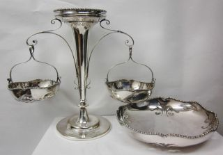 1915 English Silverplate J.  B.  Chatterly Commemorative Epergne Trophy & Bowl photo