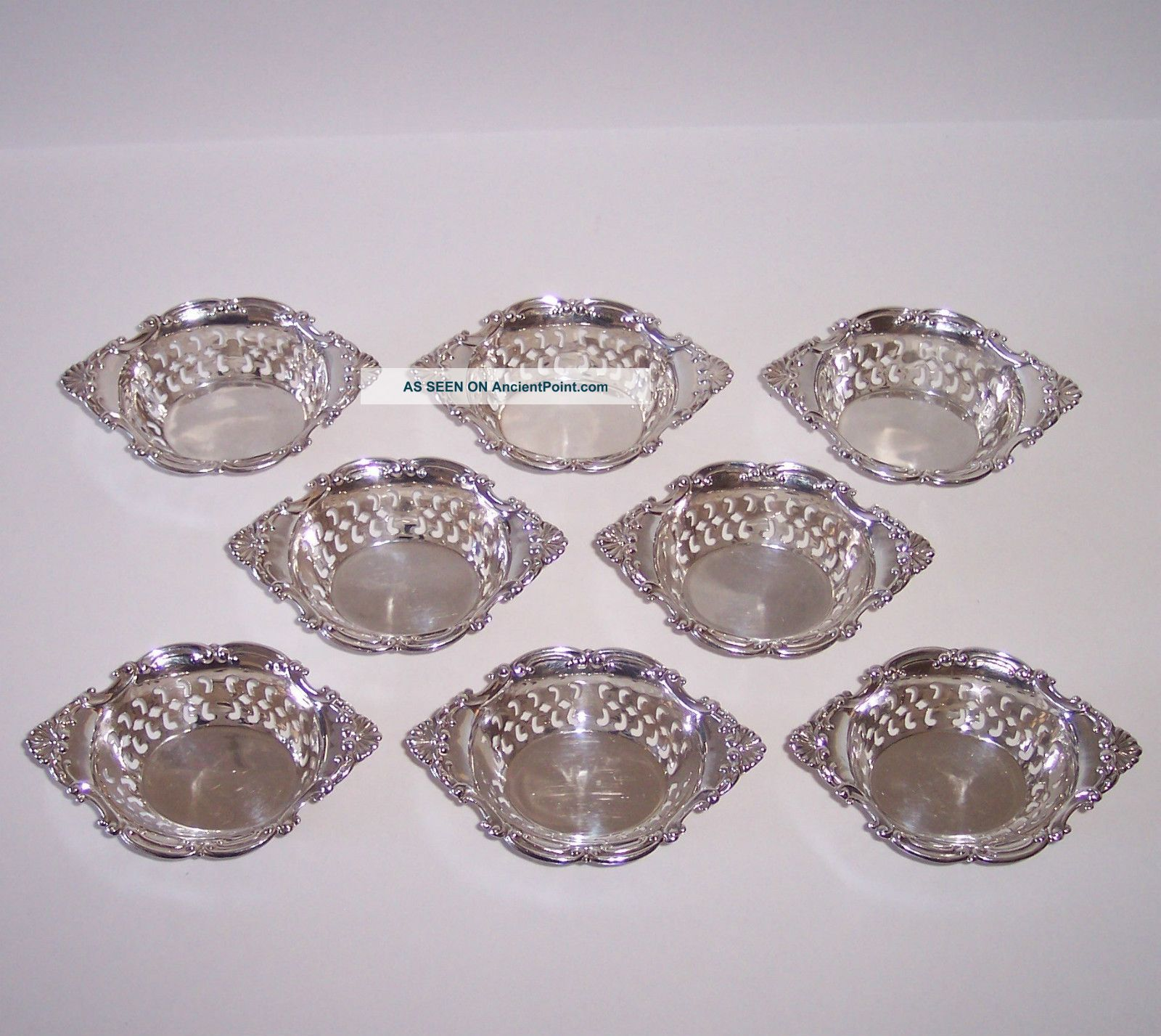 Birks Sterling Silver 8 Nut Dishes Pierced Pompadour Gorham Cromwell Bowls photo
