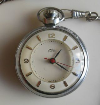 Art Deco Smiths Empire Pocket Watch With Chain - Perfect Condition And Working photo
