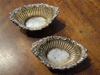 Pair Of Antique Edwardian Silver Salt Cellars Pots 1902 photo