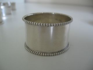 Birks Sterling Napkin Ring.  Beaded Ring With No Monogram. photo
