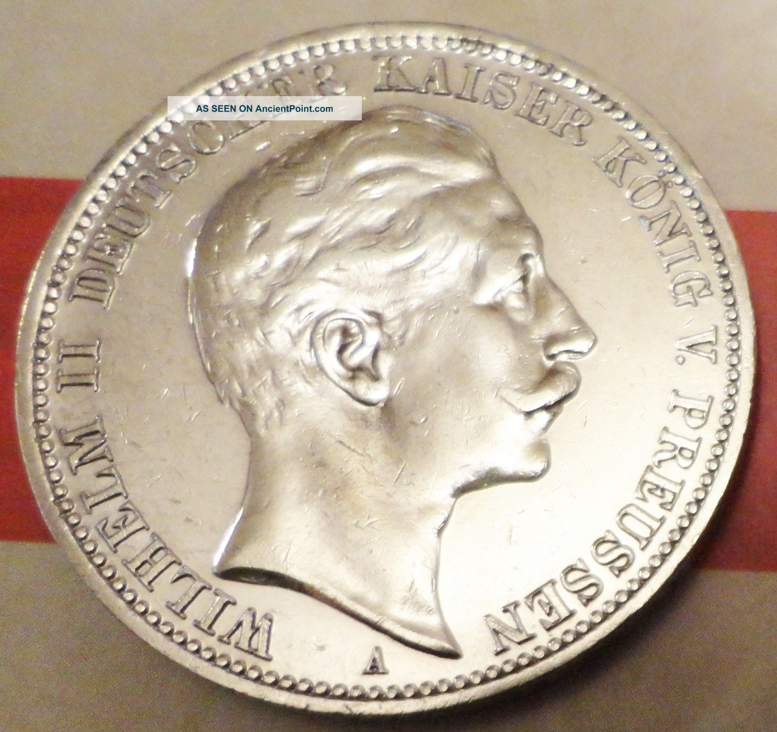 Beauty 1910 A Germany Wilhelm Ii Kaiser Konig 3 Mark Silver Coin Fine Coin Silver (.900) photo
