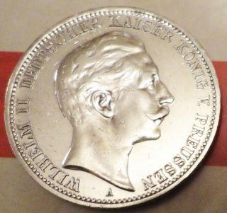Beauty 1910 A Germany Wilhelm Ii Kaiser Konig 3 Mark Silver Coin Fine photo