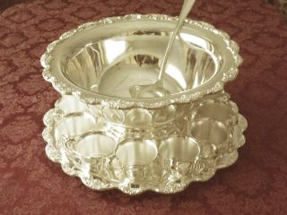 Silver Punch Bowl,  Tray,  Cups & Server photo