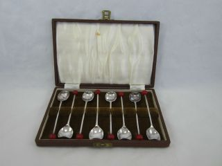 Vintage Set Of 8 English Silverplate Demitasse Spoons photo