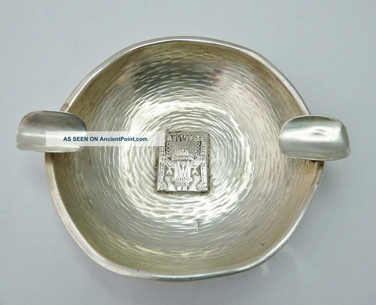 Vintage Solid Silver San Judas T Ashtray Mayan Design Ash Trays photo