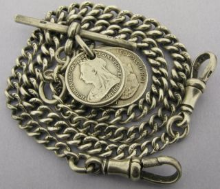 Antique Solid Silver Double Watch Chain T Bar & 6 Coin Fobs 39g 15 Inch Bir 1920 photo