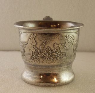 Vintage Derby Silver Co Baby Infant Childs Cup Mug Silver Plate Rabbit Phyllis photo