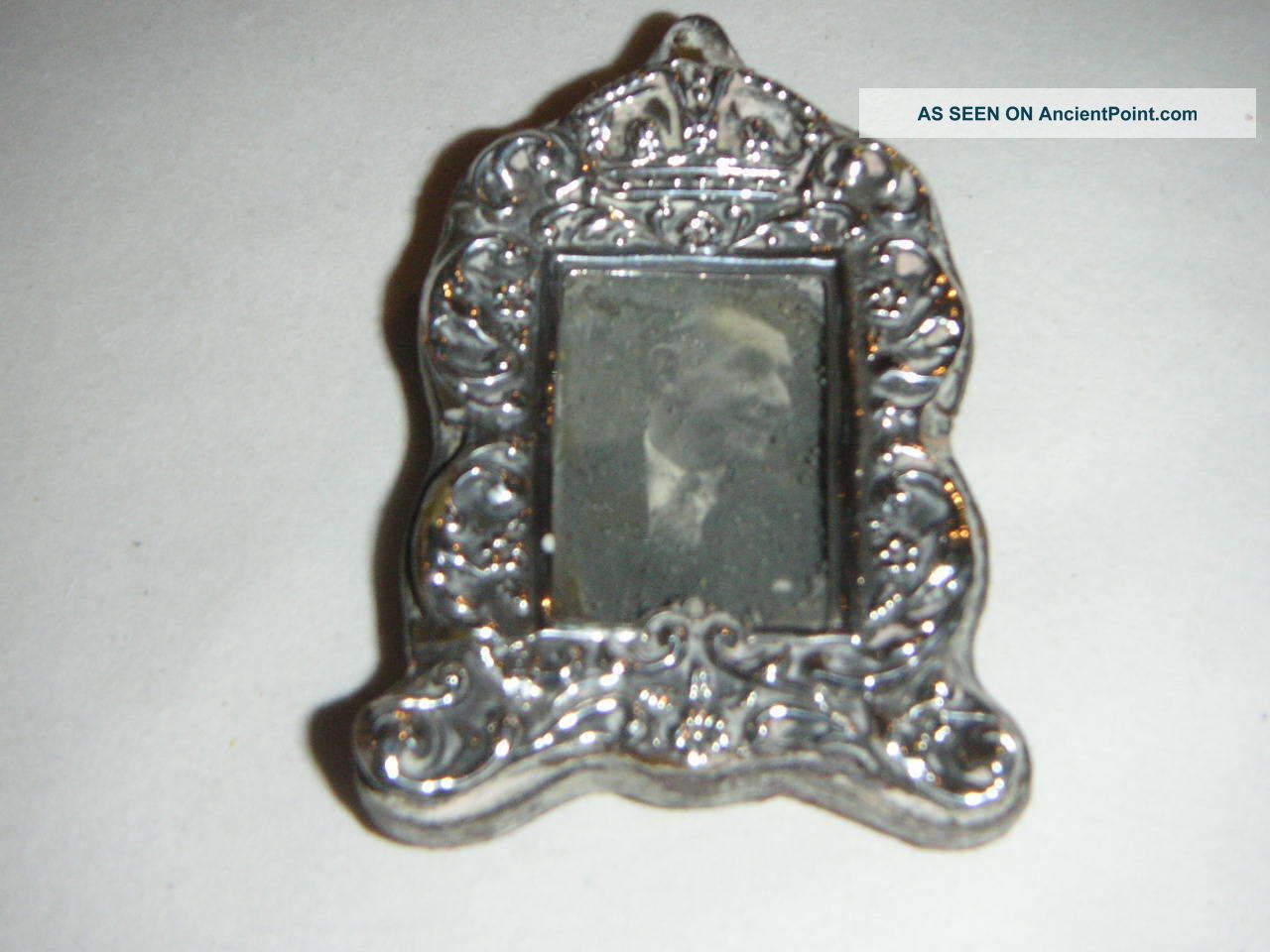 Antique Miniature Silver Picture Frame With Embossed Crown & Flower Design 1901 Frames photo