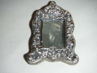Antique Miniature Silver Picture Frame With Embossed Crown & Flower Design 1901 photo