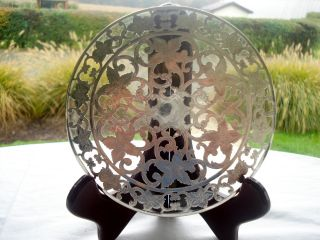 Vintage Webster Floral Cut Sterling Silver/glass Trivet,  6