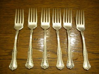 6 National Silverplate 1908 Queen Elizabeth Salad Dessert Forks Rogers photo