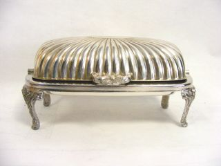 Antique Ornate Silverplate Butter Serving Dish photo