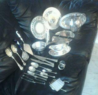 Silver Plate Lot Includes Plates,  Pot,  Gorham Creamer,  Serving Utensils,  Etc photo