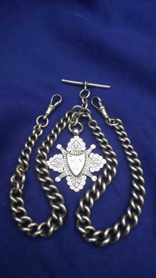 Sterling Silver Heavy Graduated Watch Chains & Fob,  Hallmarked 1889 Weight 78.  2gm photo