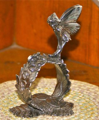 Reed & Barton 1824 Collection Silver Plated Figural Napkin Ring: Woodland Fairy photo