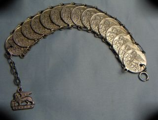 Vintage Silvered Venezia Winged Lion Of St.  Mark Coin Medal Linked Bracelet photo