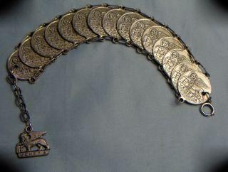 Vintage Silvered Venezia Winged Lion Of St.  Mark Coin Medal Linked Bracelet photo