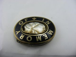 Antique Victorian Enamel Mourning Pin Brooch In Memory Of For Repair photo