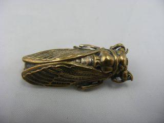 Antique Victorian Cicada Bug Beetle Creature Strange Chinese Pin Brooch photo
