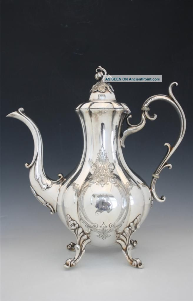 C1939 Signed Reed & Barton Silver Plate Coffee Pot Hand Chased Noresrv Tea/Coffee Pots & Sets photo