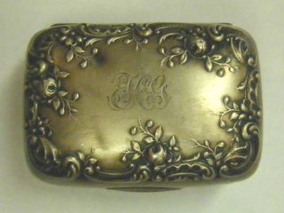Gorham Sterling Silver Repousse Trinket Box B37 Monogrammed photo