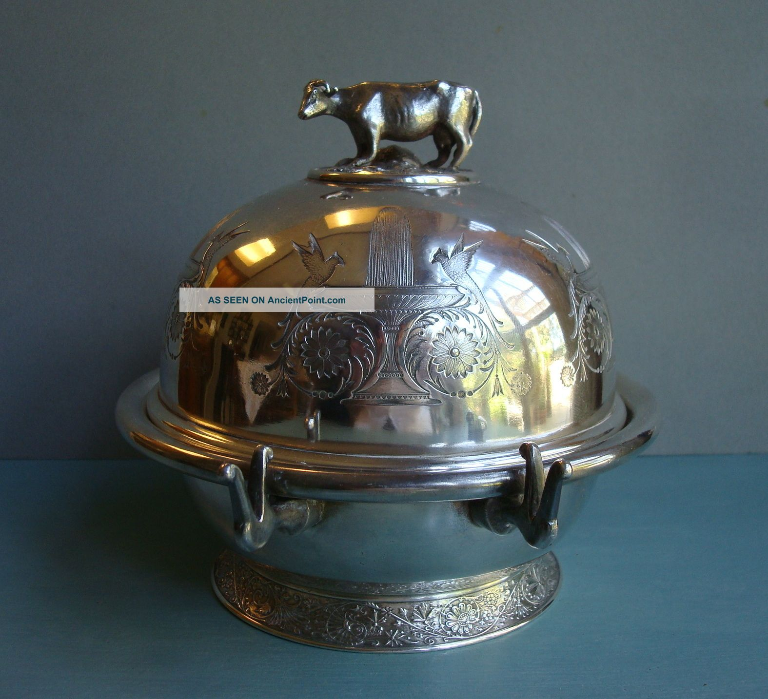 Antique Figural Dome Butter Cheese Dish Birds Cow Mushrooms Silver Plate Bowls photo