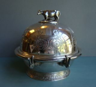 Antique Figural Dome Butter Cheese Dish Birds Cow Mushrooms Silver Plate photo