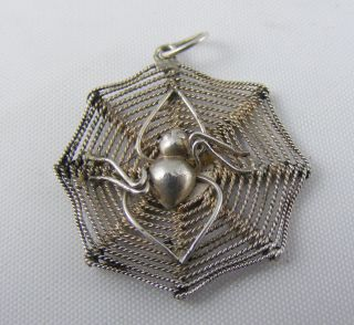 Vintage Solid Silver Gothic Goth Black Widow Spider Web Pendant photo