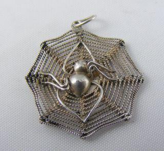 Vintage Solid Silver Gothic Goth Black Widow Spider Web Pendant photo