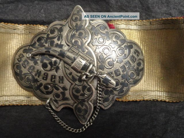 Antique Russian Silver 84 Niello Enamel Belt Buckle Russia photo