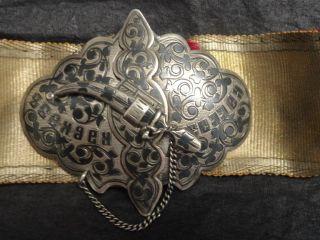 Antique Russian Silver 84 Niello Enamel Belt Buckle photo